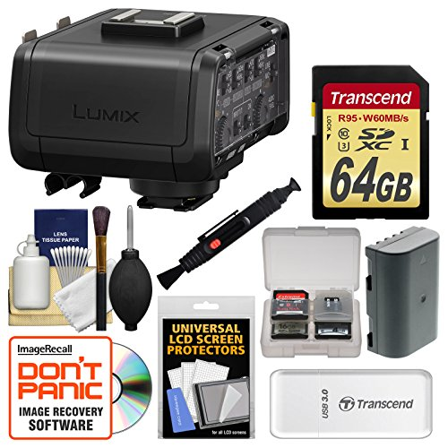 Panasonic Lumix DMW-XLR1 XLR Professional Microphone Adapter for DC-GH5 Camera with 64GB Card + Battery + Cleaning Kit by Panasonic