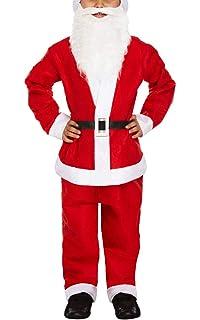1f4233e7b5d20 IEFIEL 5pcs Déguisement Noël Enfant Garçon Fille Costume de Père Noël avec  Chapeau Noël Santa Pleuche