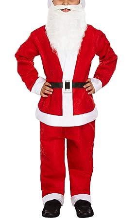 983bcc669e8d3 IEFIEL 5pcs Déguisement Noël Enfant Garçon Fille Costume de Père Noël avec  Chapeau Noël Santa Pleuche
