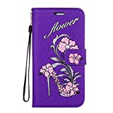 For iPhone 8 Case, CrazyLemon iPhone 7 Leather Case Floral High Heels Flower Pattern Design Bling Glitter Luxury PU Leather Wallet Flip Cover Credit Card Holders Full Body Protective Book Style Case for iPhone 8 / iPhone 7 4.7 inch - Glitter Purple