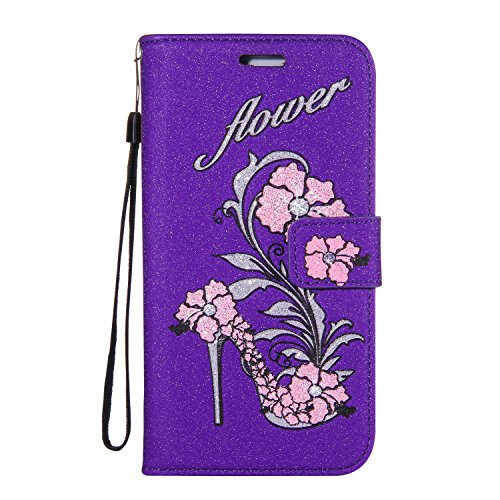 Price comparison product image Galaxy J5 2015 Case, Samsung Galaxy J5 Leather Wallet Case Glitter Purple, Gostyle Bling Flower High heels Shoe Embossed Stand UP Flip Cover Magnetic Closure with ID Card Holder / Hand Lanyard Strap