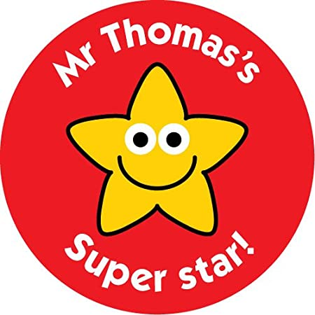 37mm personalised reward stickers your names super star stars