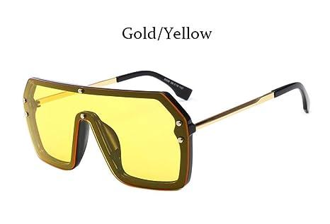 Cranky Orange Luxury Square Mirror Coating Gafas de Sol Hombre Mujer Moda Pantalones Vintage piloto Gafas Masculinas, Oro Amarillo