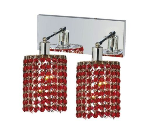 Red Halogen Sconce (Elegant Lighting 1282W-O-E-BO/RC Mini 13.5-Inch High 2-Light Wall Sconce, Chrome Finish with Bordeaux (Red) Royal Cut RC Crystal)