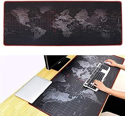QYLT Alfombrilla de ratón para Juegos, Almohadilla de Escritorio de Gran tamaño, cómoda, Multiusos, Gran Mapa del Mundo, Base de Goma Antideslizante y ...