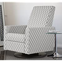 Dutailier Minho Upholstered Glider Recline, Swivel with Built-in Footrest, Geometric Grey/Cream