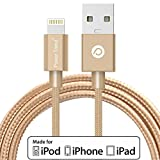 Power Trend MFI Certified 2M 6.6FT Nylon Braided USB to Lightning Cable Data Charging Cord for iPhone 5 / 5C / 5S / SE / 6 / 6S / 7 / 7 Plus / iPad / iPod Nano 7 (Luxury Gold)