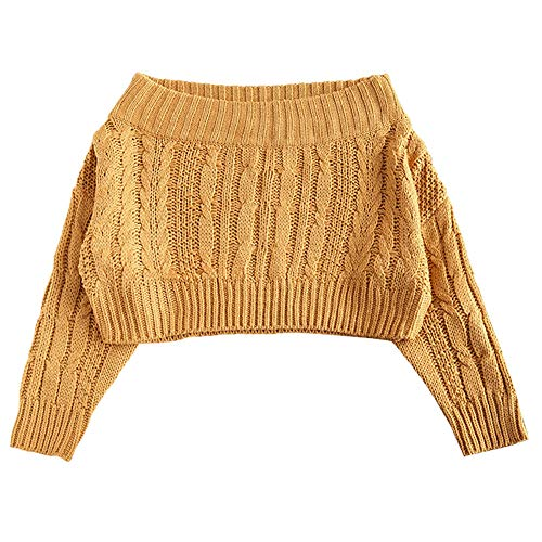 Crop Cable - ZAFUL Women's Off Shoulder Long Sleeve Chunky Cable Knit Crop Sweater Pullover (Mustard)