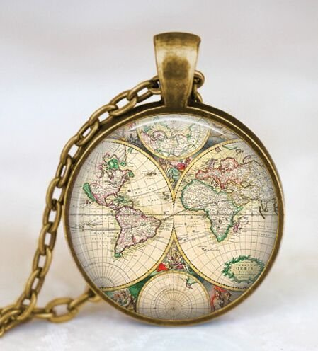 Map Jewelry Pendant - World map globe necklace, vintage globe pendant , world map art pendant , teacher gift, world travel adventurer , world map globe jewelry