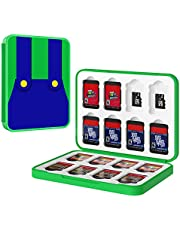 MoKo Game Card Case Compatible with Nintendo Switch/Nintendo Switch Lite Game Cards Holder with 16 Cartridge Slots Organizer Water Resistant Card Holder Anti-Scratch Carrying Storage Box, Mario Green