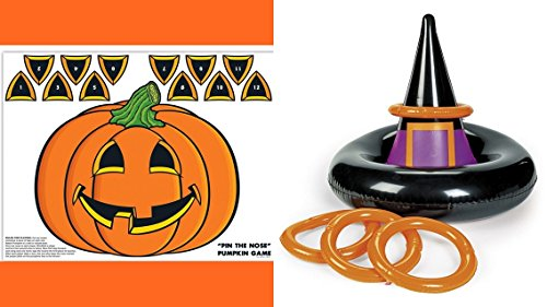 Halloween inflatable Witch HAT toss game + pin the nose pumpkin game - SET of 2 Halloween Party Games
