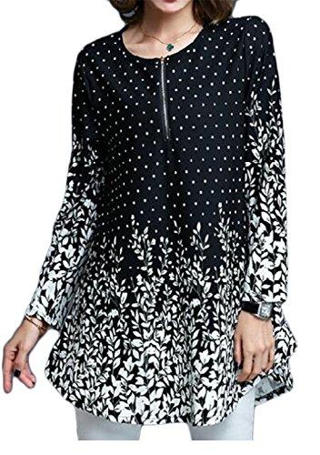 54ca3cf0377 CRYYU-Women Floral Printing Loose Long Sleeve Chiffon T-Shirt Blouse Top