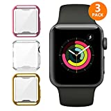 iHYQ For Apple Watch Case 42mm 3 PACK, Slim Soft TPU Lightweight iWatch Screen Protector Bumper Cover for Apple iWatch Series 1, Series 2, Series 3