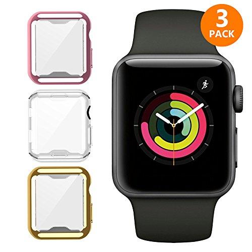 iHYQ For Apple Watch Case 42mm 3 PACK, Slim Soft TPU Lightweight iWatch Screen Protector Bumper Cover for Apple iWatch Series 1, Series 2, Series 3 by iHYQ