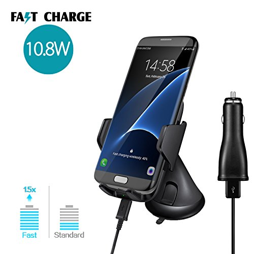 Polmx c8 fast car wireless charger , wireless qi fast charging pad ,charging dock, mobile phone air vent holder with suction cup car mount for Galaxy S8 Plus S7 S6 edge Note5 for iphone8 pluse x