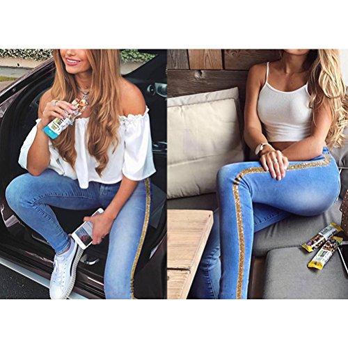 Metallo Denim Colore Double Fight Blu Qualità Sottile Lavato Bassa Pantaloni Vita Del Zhhlaixing Jeans Ricamato Stretch n0HURzqyE