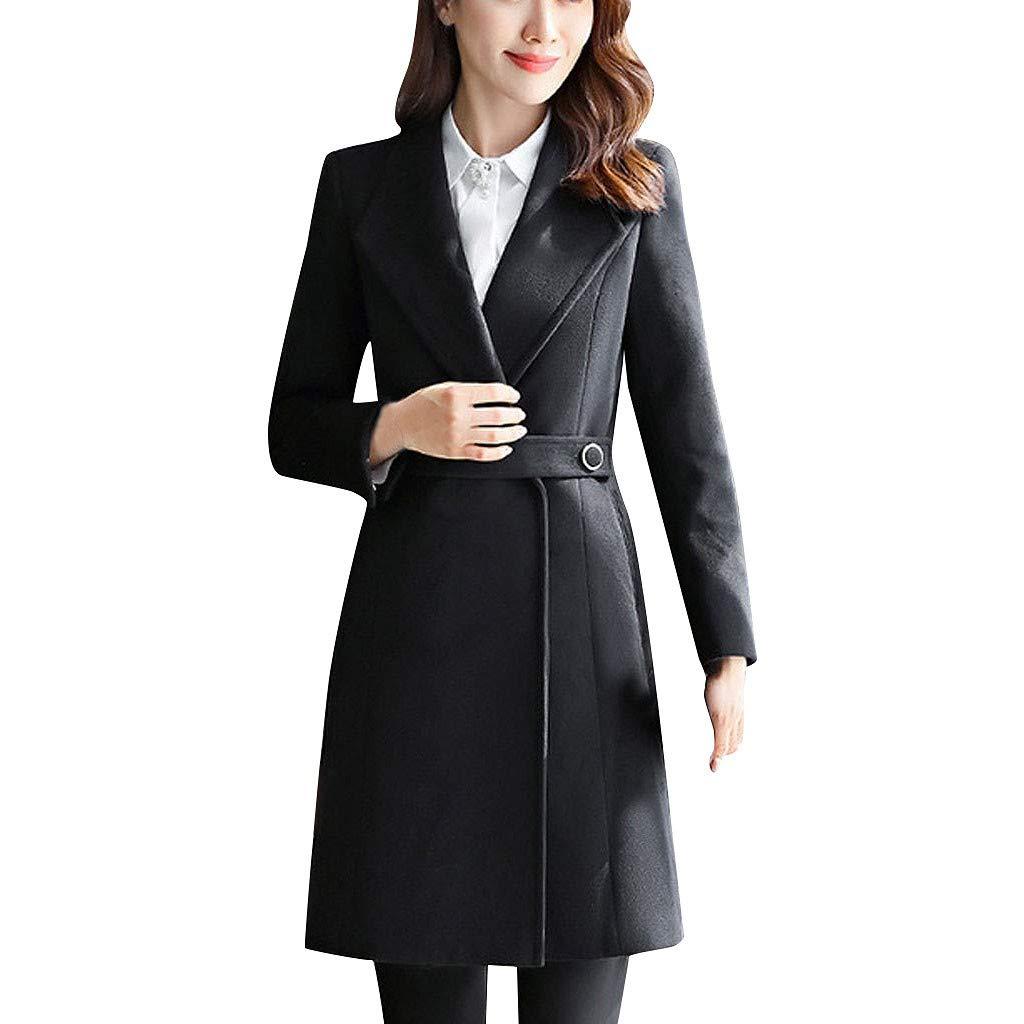 Yanvan Women Professional Coat Trench Coat Wear Medium And Long Jacket Thick Woolen Cotton Coat by Yanvan