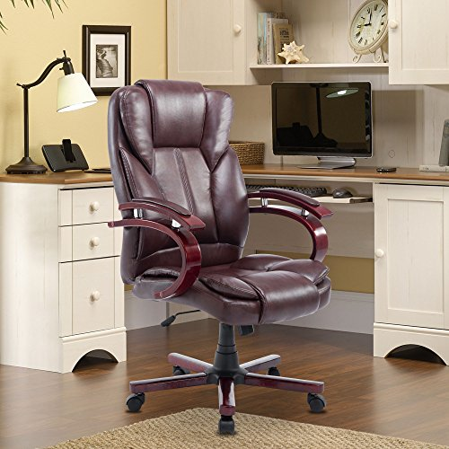 Cloud Mountain Office Chair PU Leather Executive Computer Ergonomic Desk Chair High Back Padded Swivel Adjustable Task Chair w/Metal Base Flip-up Arms, Brown by Cloud Mountain