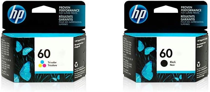 HP 60 | Ink Cartridge | Tri-Color | CC643WN & 60 | Ink Cartridge | Black | CC640WN