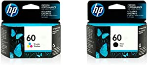 HP 60 | Ink Cartridge | Tri-Color | CC643WN & 60 | Ink Cartridge | Black | CC640WN