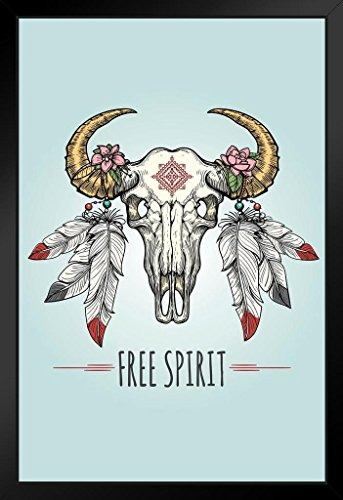 Free Spirit Buffalo Skull with Ornaments and Feathers Art Print Framed Poster 14x20 inch