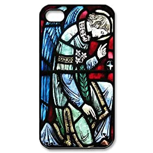 Pharrel Stained Glass IPhone 4/4s Case Angel Stained Glass Window at St. Vincent Martyr Catholic Church for Boys, Iphone 4 S Case for Iphone Luxury, [Black]