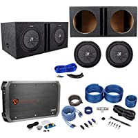 (2) Kicker 43CWRT121 COMPRT12 12 2000W Subwoofers+Vented Box+Mono Amp+Wire Kit