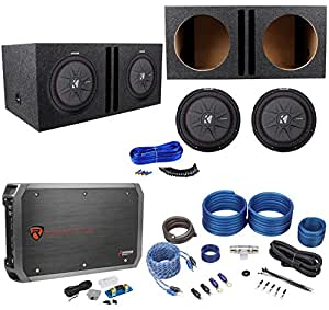 """(2) Kicker 43CWRT121 COMPRT12 12"""" 2000W Subwoofers+Vented Box+Mono Amp+Wire Kit"""
