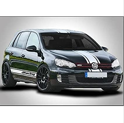 Vw golf gti r racing stripe racing stripes decal set roof side bonnet white