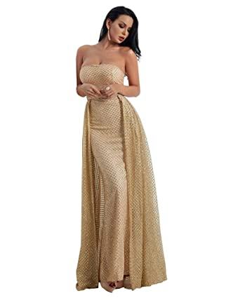 Miss ord Sexy Strapless Sleeveless Glitter Cloak Evening Dresses X-Small