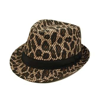 Unisex Dark Brown Leopard Print Black Band Fedora Straw Hat