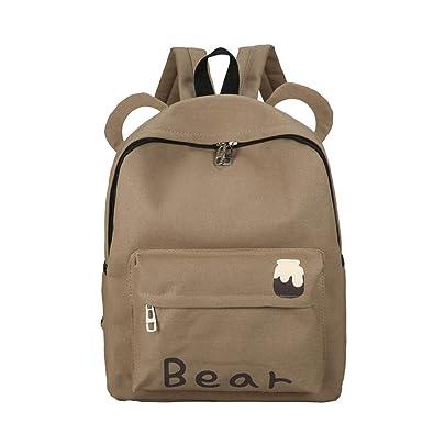 amazon com meowday canvas backpack school shoulder bag cat ear bear