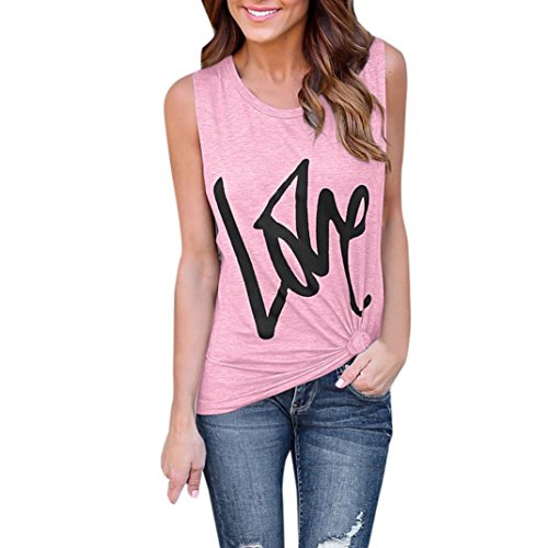 - FEITONG Womens Lady Fashion Soild Letter Print Blouse Sexy Vest Sleeveless T-Shirt Love(Small,Pink)