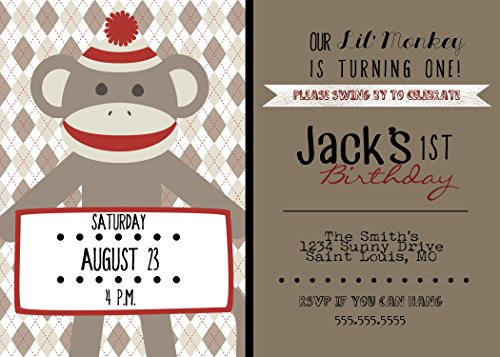 Customized - Sock Monkey Birthday Party Invitation