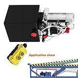 Mophorn Hydraulic Power Unit 4 Quart Pump Double Acting Hydraulic Power 12V DC Steel Tank Hydraulic Pump Power Unit for Dump Trailer Car Lifting (4 Quart Steel Double Acting)