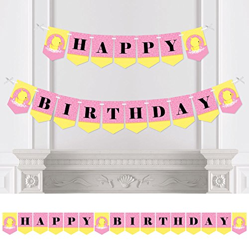 Big Dot of Happiness Pink Ducky Duck - Girl Birthday Party Bunting Banner - Pink Party Decorations - Happy Birthday (Pink Ribbon Rubber Ducks)