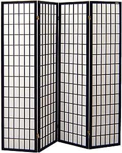 Pantalla de madera y papel de arroz con 4 puertas. Modelo Tatami Color negro