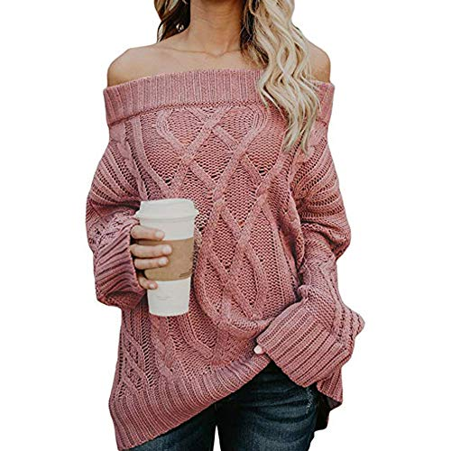DEELIN Neck Shoulder Sleeve Pullover Knit Pink Clothes Coats Blouse Womens Tops Sweater Winter Loose Long Sale Cable Sexy Clearance Sweatshirt Off Slash rYr8vw