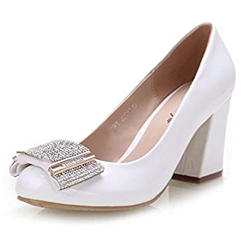 401f793bb115 Womens White Rhinestone Block Mid Heel Shoes Pumps For Dress Party Work  Evening Party Prom Wedding
