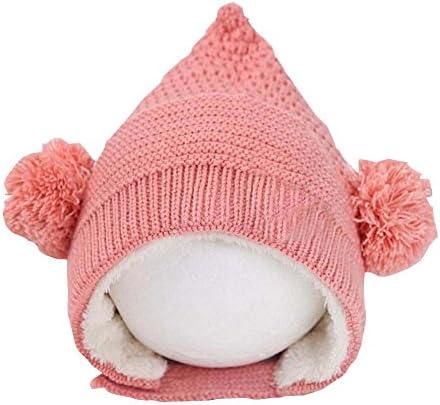 ピンクかわいい冬ベビー帽子耳保護キャップベルベット内側