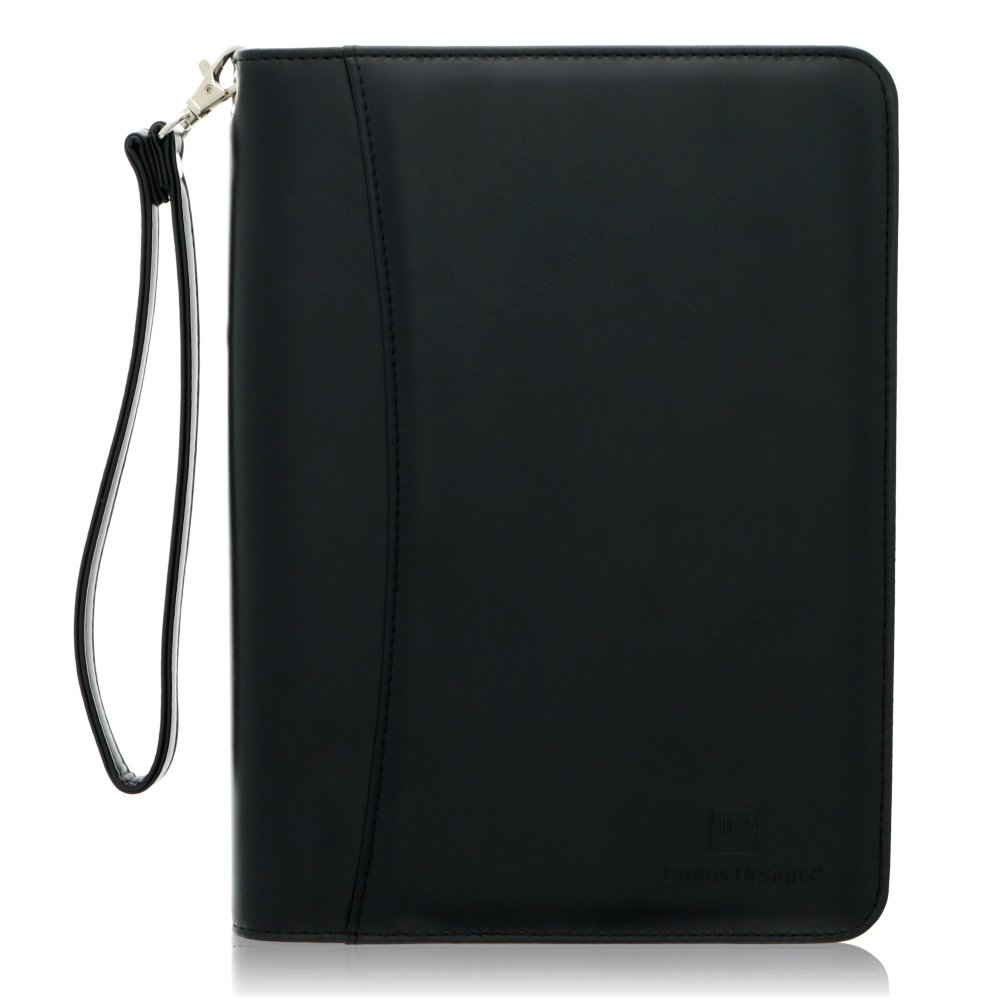 Small Zippered Business Padfolio with Junior Legal Notepad - Black PU Leather Portfolio Binder & Organizer Folder with 8 Inch Tablet Sleeve by Lautus Designs