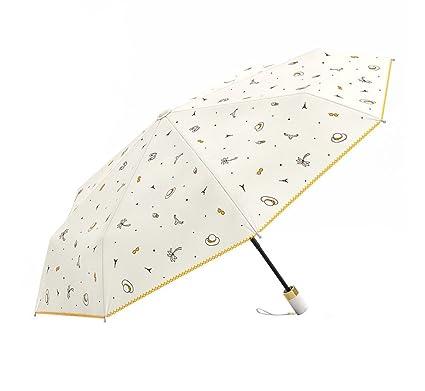Paraguas Plegable Ligero Paraguas de Viaje Compacto Plegado Ms Persona Doble Paraguas de Tres Pliegues Paraguas