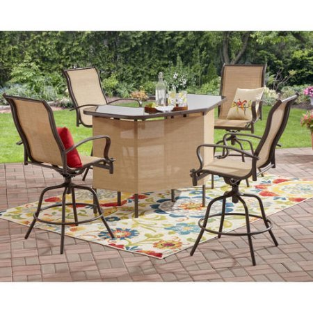 Mainstays Wesley Creek 5-Piece U-Shape Bar Set, Tan