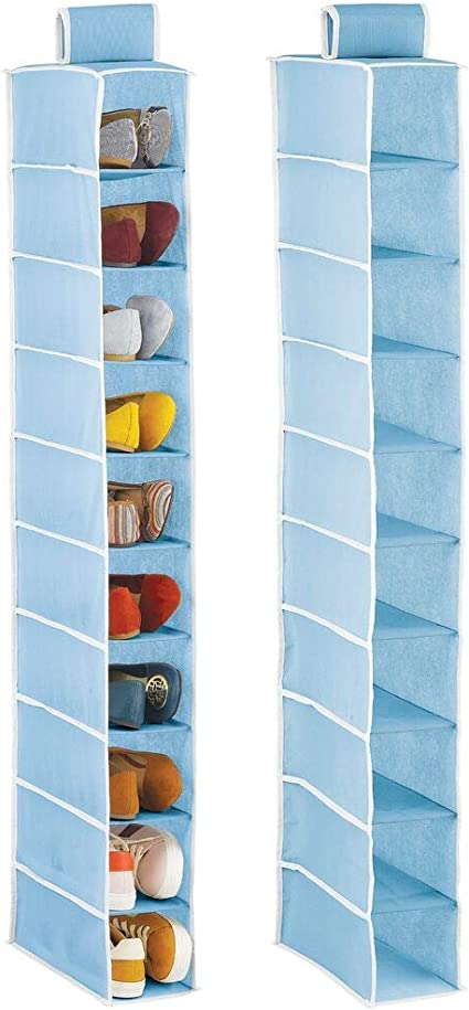 Muebles zapateros para Colgar con 10 Compartimentos Bolsos o Carteras para Ahorrar Espacio Estanter/ías para Zapatos mDesign Organizador de Zapatos para Armario Azul Claro y Blanco