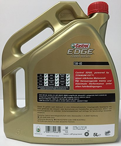 Aceite motor CASTROL EDGE TURBO DIESEL 5W40 6 litros (1x5 lts + 1x1 lt) especial motores TDi: Amazon.es: Coche y moto