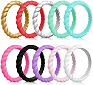 Mokani Silicone Wedding Ring for Women, 10-Pack Thin and Braided Rubber Band, Fashion, Colorful, Comfortable f
