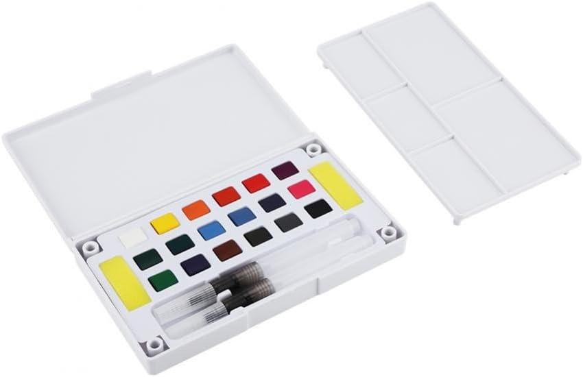 Caja para pintar acuarelas, Juego de pintura portátil de color de agua sólida Kit de pigmento de acuarela con pincel de agua y arte de dibujo de esponjas escolares (18 colors): Amazon.es: