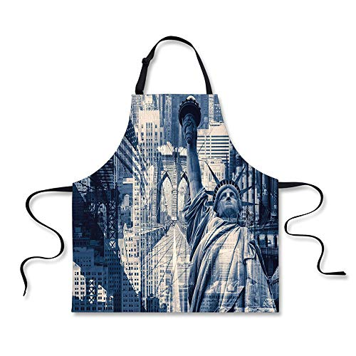 iPrint BBQ Apron,United States,Double Exposure Image of Statue of Liberty with New York Buildings,Dark Blue Purplegrey, Apron.29.5