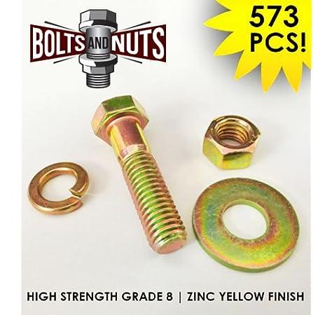 2011 Pcs Grade 8 Coarse Bolts Nuts /& Washers Assortment Kit