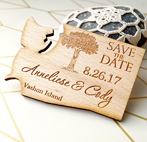 Wooden save the date magnets, US state shaped save the dates, rustic wedding save the dates, personalized magnets, set of 25 pc]()